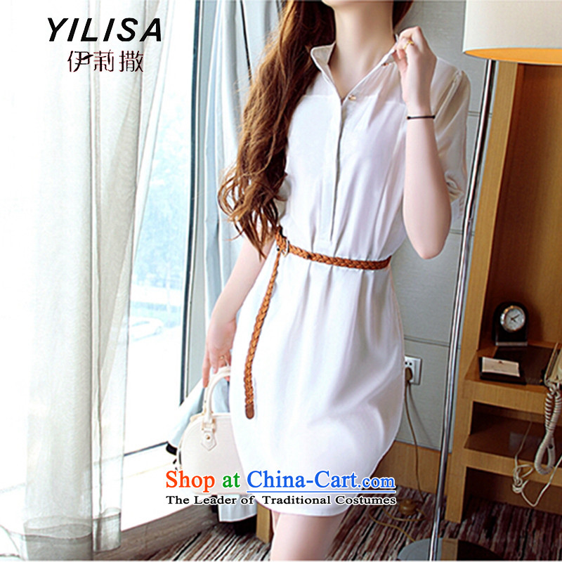 Large YILISA female new summer 2015 MM thick tether in cuff video thin Sau San sunscreen chiffon shirt dresses H5113 female m White XL