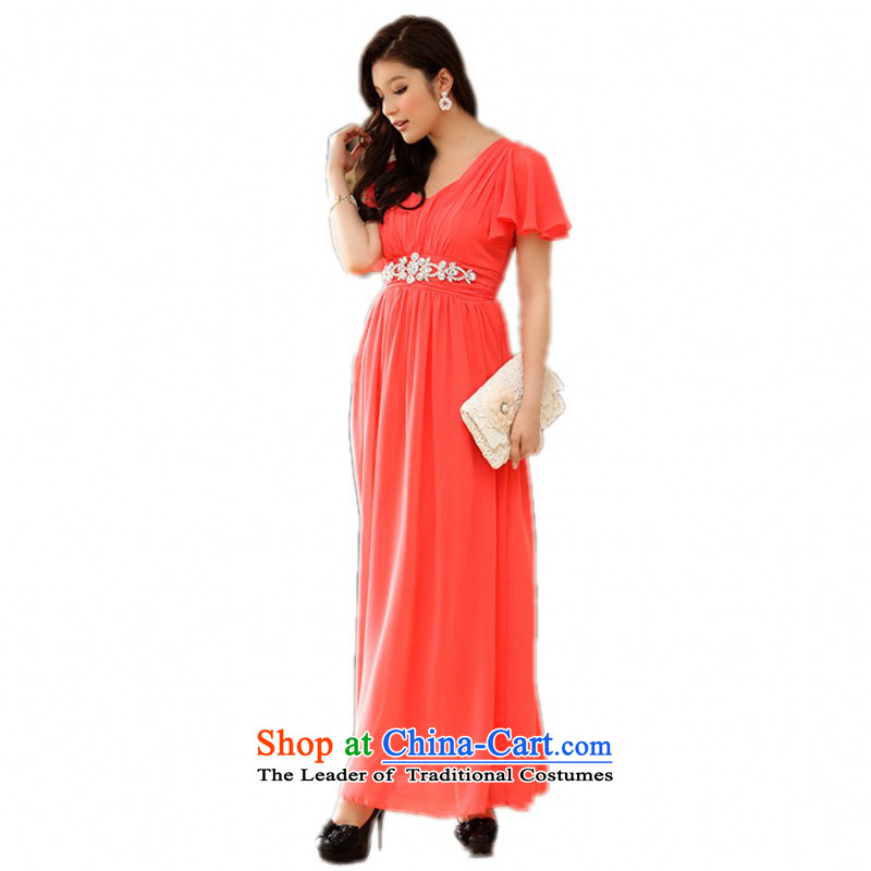 C.o.d. Package Mail 2015 new summer American drill foutune chiffon long skirt XL Graphics thin niba cuff evening dress beach dresses orange XXXL approximately 165-180 catty