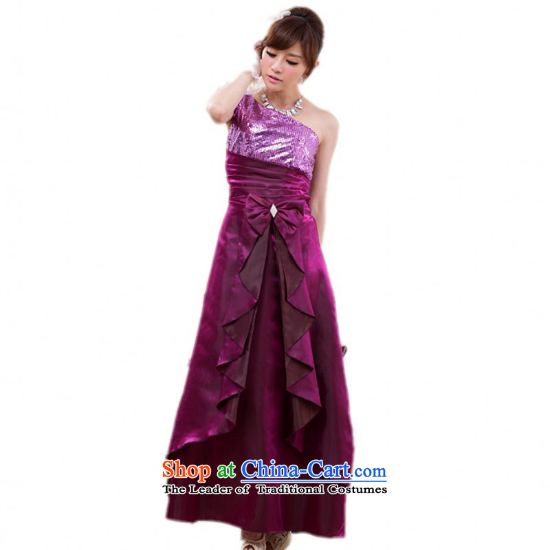 C.o.d. Package Mail 2015 new summer and your temperament goddess shoulder dresses evening dresses large long skirt auspices dress etiquette skirt purple XXL about 145-165 catty