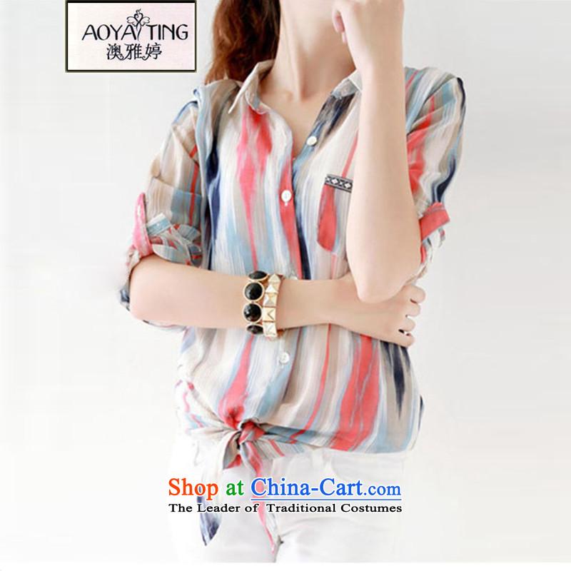O Ya-ting2015 new Korean summer thick MM chiffon shirt to xl sunscreen Yi Girls51-10picture colorXL115-130 recommends that you Jin