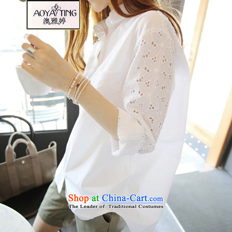 O Ya-ting to increase women's code 2015 autumn and winter new engraving cuff loose shirt OL white shirt female 777 White2XL135-160 recommends that you Jin