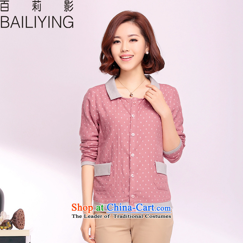 Hundreds of Li Ying spring new large long-sleeved blouses and T-shirts, forming the small lapel wild shirt short of stitching small shirt rubber red M