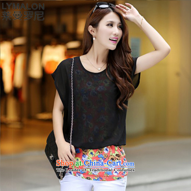 The lymalon lehmann thick, Hin thin Summer 2015 mm thick new large wild women to increase short-sleeved T-shirt chiffon 8087 Black XL