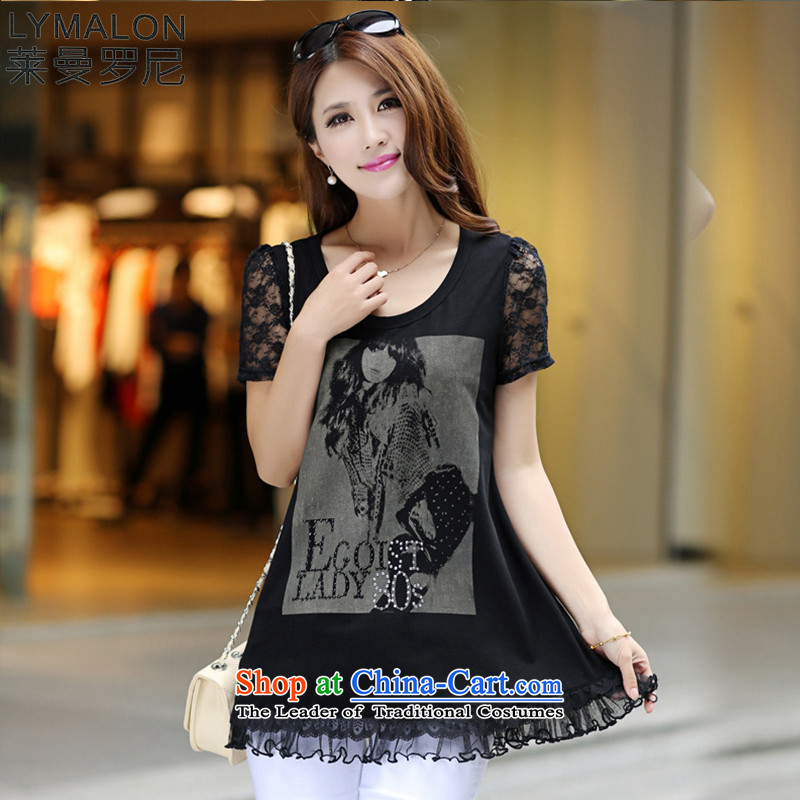 The lymalon lehmann thick, Hin thin Summer 2015 mm thick new large wild women to increase short-sleeved T-shirt black XXXXL 8 029