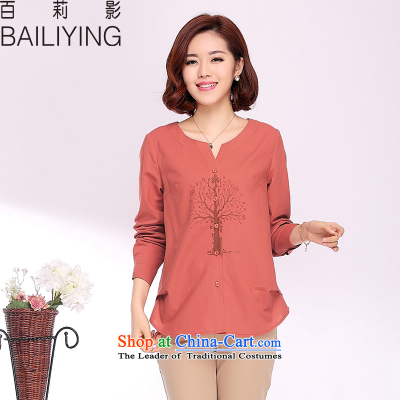 Hundreds of Li Ying 2015 Spring and Autumn Women's clothes new original art cotton linen pure cotton short of large loose stamp long-sleeved T-shirt orange 2XL- 135-150 recommended catty