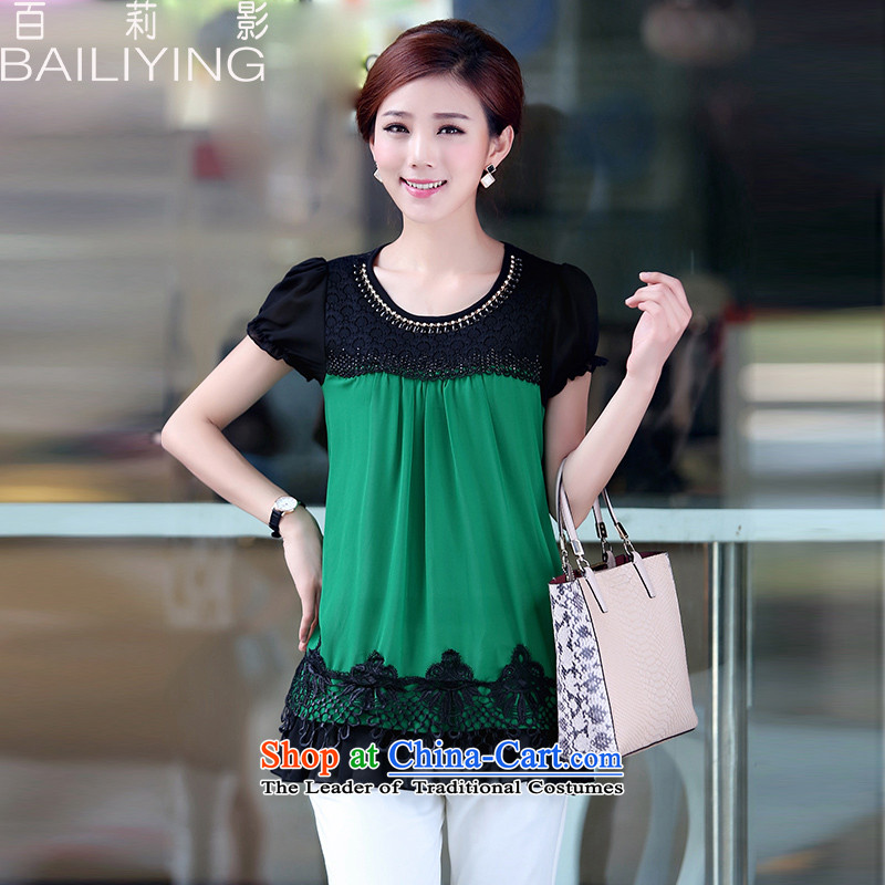 Hundred Li Ying 2015 Summer new short-sleeved T-shirt female Korean lace stitching large relaxd dress chiffon shirt thick mm Green L T-Shirt