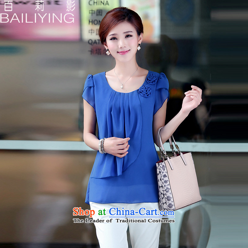Hundred Li Ying Summer 2015 in large older women's loose thick sister chiffon shirt short-sleeved T-shirt, blue jacket XL-new recommendations 120-135 catty