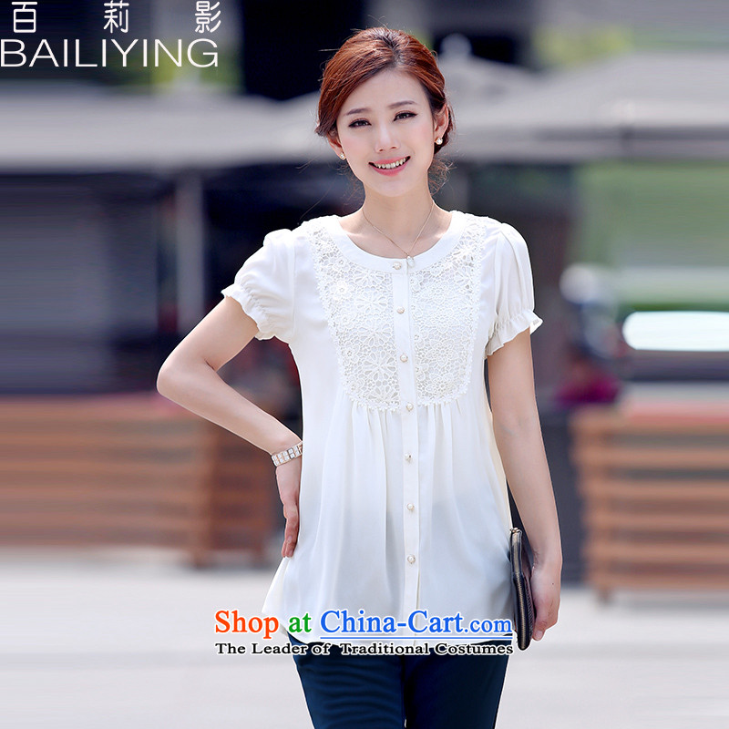 Hundred Li Ying 2015 summer to xl chiffon shirt thick short-sleeved T-shirt, forming the mm mother blouses White M