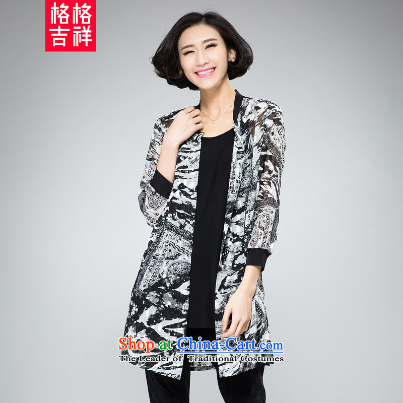 The interpolator auspicious for larger female thick mm thin 2015 Autumn graphics load new stylish in long chiffon cardigan thin air-conditioning shirt jacket, black-and-white 2XL 2020