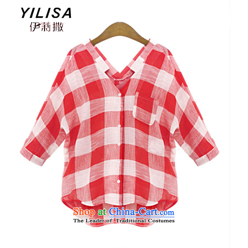Yilisa spring and fall of the new Europe and the larger women's summer leisure long-sleeved blouses street wild lattices, forming the shirt, red and white燲XXL M0812