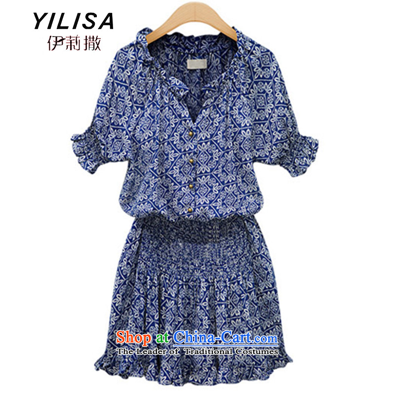 Maximum number of ladies YILISA video thin summer new western retro stamp cotton linen dresses thick mm Foutune of short-sleeved shirt M9802 dark blue suit XXL skirt