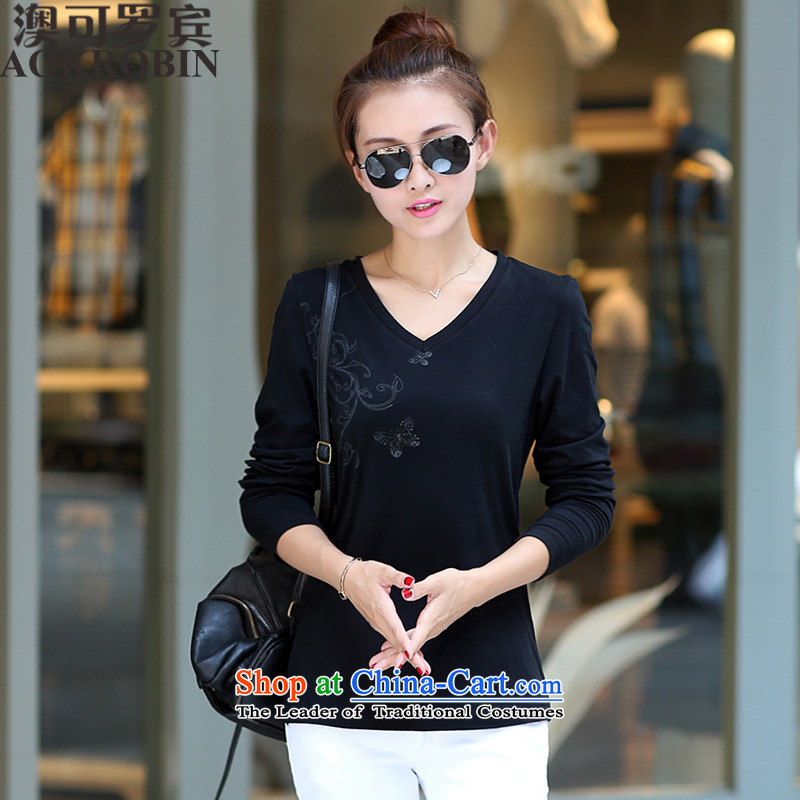 O to large Robin female spring Korean video thin thick sister long-sleeved T-shirt female V-neck shirt black5XL( forming the recommendations 185-200 catties)