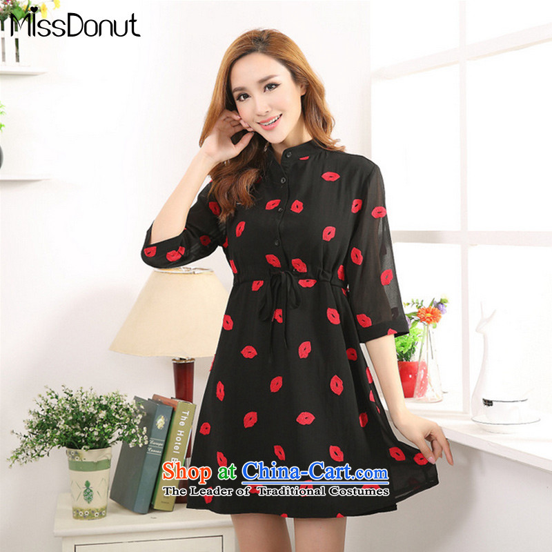 The ad to increase missdonut code women 2015 Spring_Summer new mm thick red lips, Europe and the stamp thick snow sister woven dresses large black XXL
