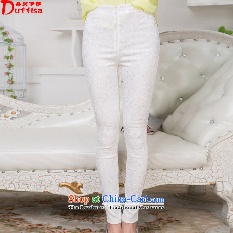 Flower to Isabelle spring and summer 2015 New Fat MM TO XL ELASTIC LACE castor trousers Sau San long pants D1604 female White XL