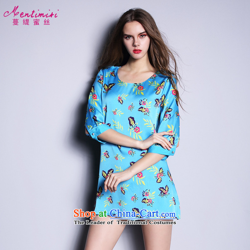 Overgrown Tomb economy honey silk spring and summer 2015 NEW TO XL Women Korean thick MM stylish Embroidery Stamp dresses 2663 large blue 5XL code around 922.747 200