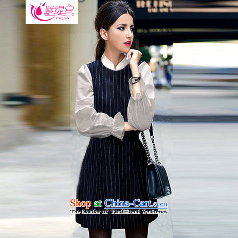 The first declared�15 ultra large economy, women's new spring and autumn new_ thick mm gentlewoman forming the skirt streaks dresses�01_ long-sleeved blue�L 165- around 922.747 185