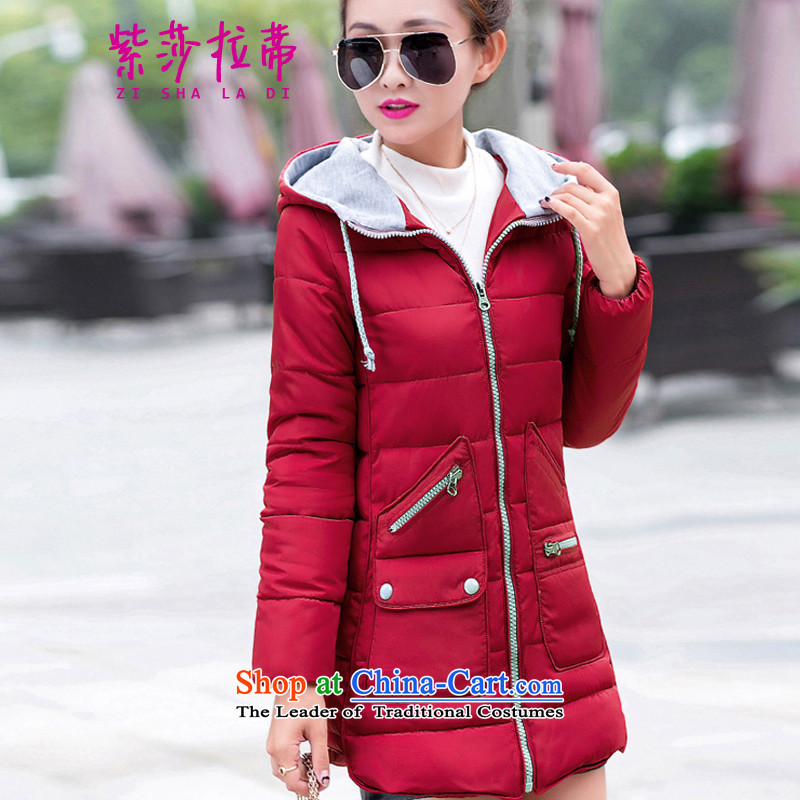 Purple Sarah Opertti 2015 autumn and winter new Korean female jackets. Long Large Female Cap thick cotton coat women Sau San 8752 wine red. XL.