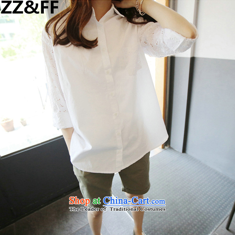 2015 New Korea Zz_ff summer edition engraving to increase women's code MM200 thick white shirt liberal shirts catty XXL_135-165 catties_