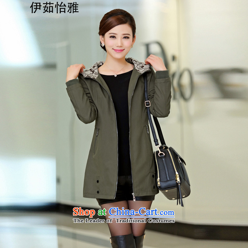 El-ju Yee Nga larger women 2015 Autumn replacing thick, Hin thin, 4XL to increase Sau San leisure wind jacket YY5088燲XXXL Army Green