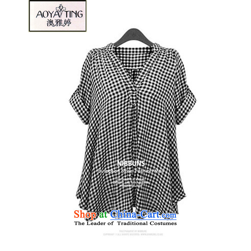 O Ya-ting 2015 Summer new to xl shirt thick mm short-sleeved T-shirt female black and white checkered picture color 853  2XL 125-145 recommends that you Jin