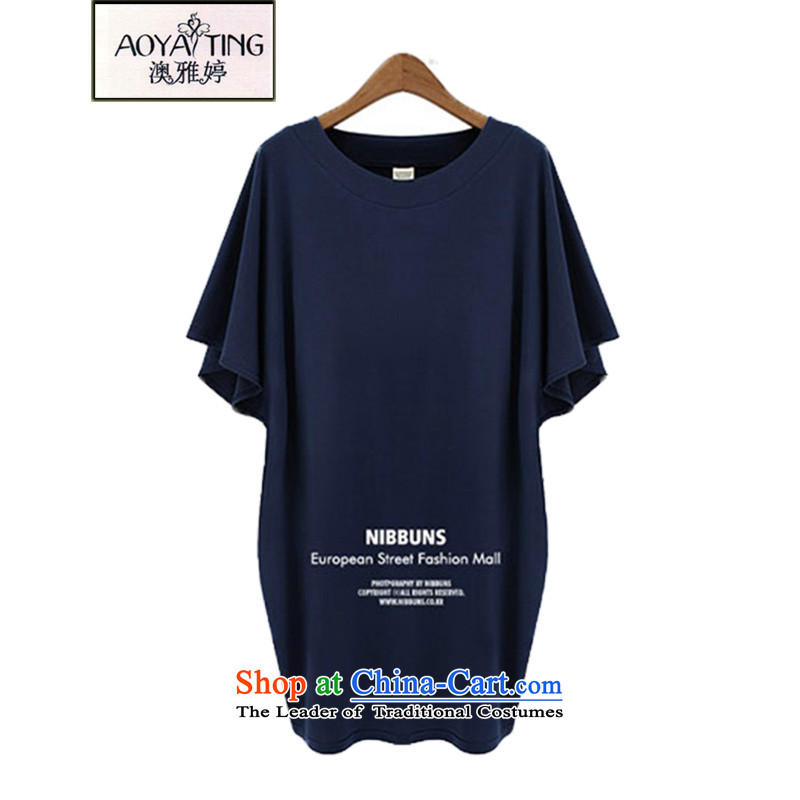 O Ya-ting summer new to xl women's dresses in mm Thick Long Short-sleeved T-shirt, forming the elastic shirt female 855 Navy 3XL 145-165 recommends that you Jin
