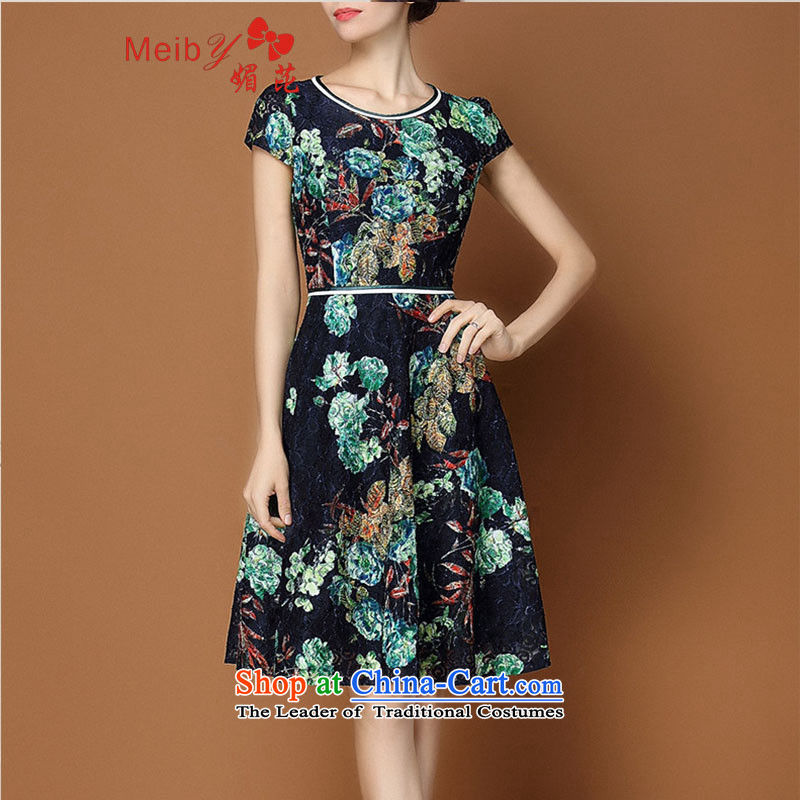 Of the new large meiby female Sleek and versatile Sleek and versatile large spring new women's stylish stamp short-sleeved large female Dress Suit 1817 XL