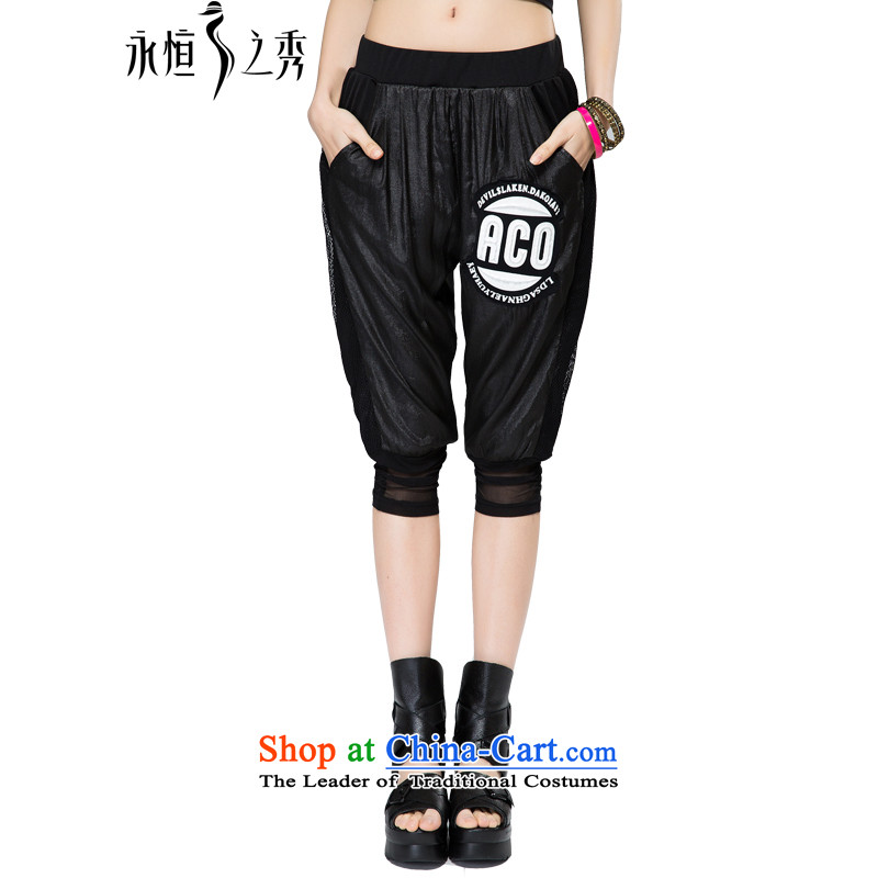 The Eternal-soo to xl female Capri thick sister 2015 Spring/Summer thick, Hin thin, to intensify the stamp in High Fashion letters trousers leisure pants 4XL