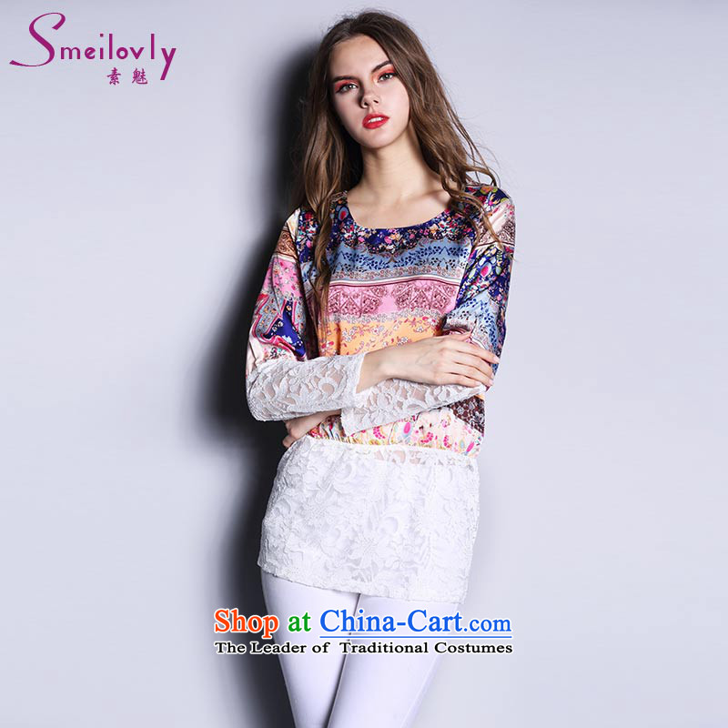 So clearly to xl female thick MM spring and autumn 2015 Western new boxed stylish stamp T-shirt chiffon shirt picture color large code XXL around 922.747 140