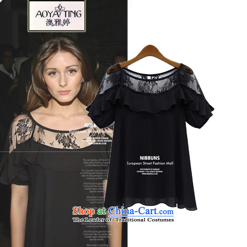 O Ya-ting2015 Summer new larger female chiffon shirt thick MM to lace short-sleeved T-shirt femaleblack5XL8-26recommends that you 175-200 catty