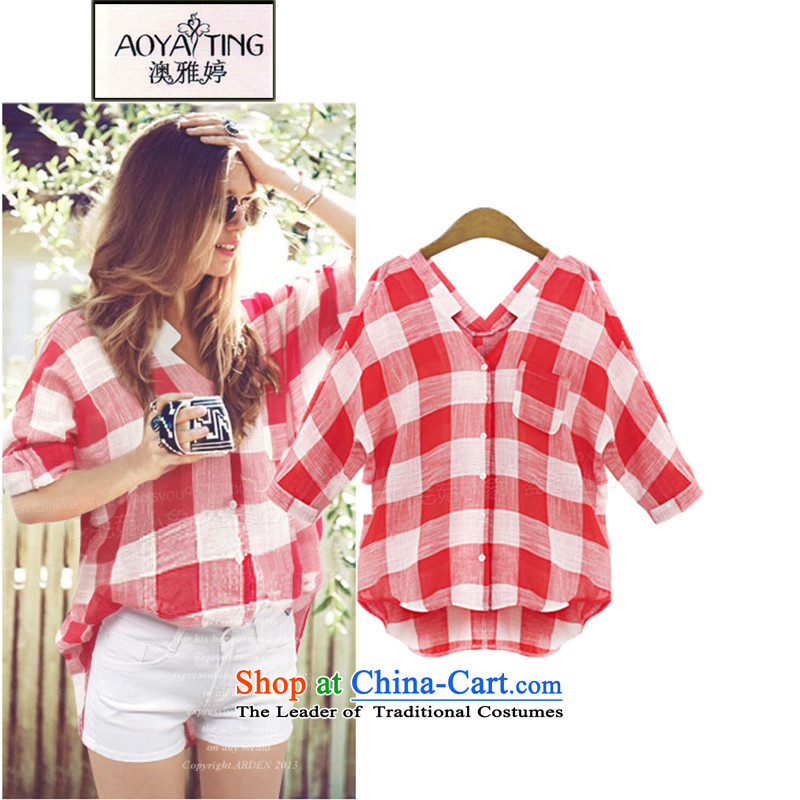 O Ya-ting2015 Summer new women's thick mm grid T-shirts to increase the number of female sleeved shirt 812 red grille 2XL125-145 recommends that you Jin
