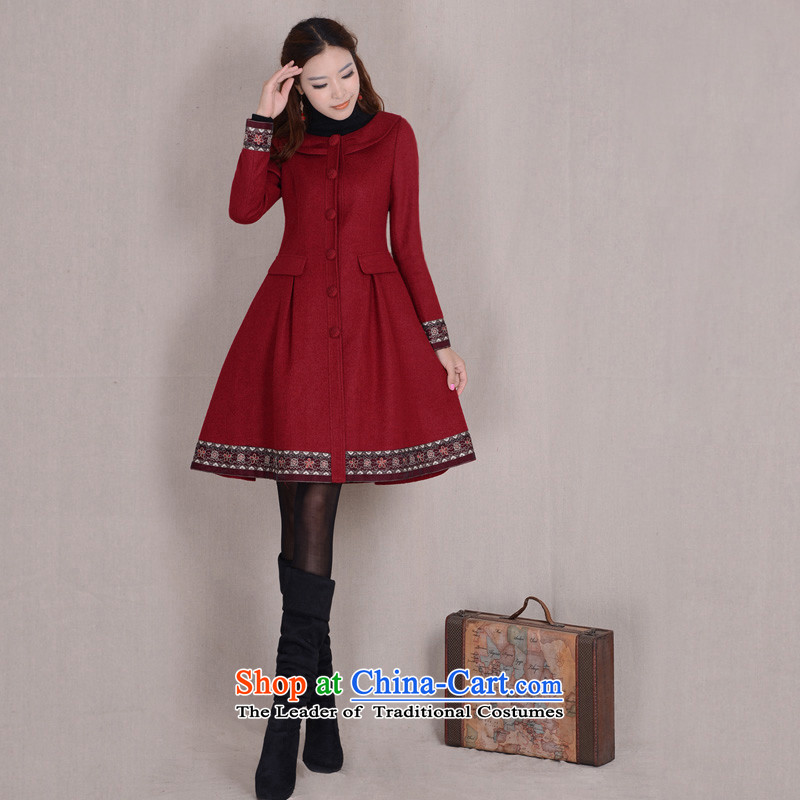 Fireworks ironing DXY original temperament in long-sleeved long Sau San gross jacket coat seal lip? red XXL spot