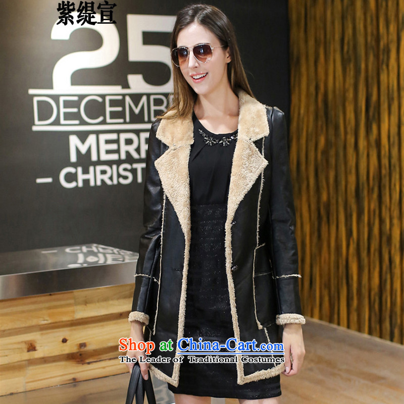 The first declared western trendy economy code women new autumn and winter Fat MM to intensify the long leather jacket coat C2111/ female black 4XL 165- around 922.747 175