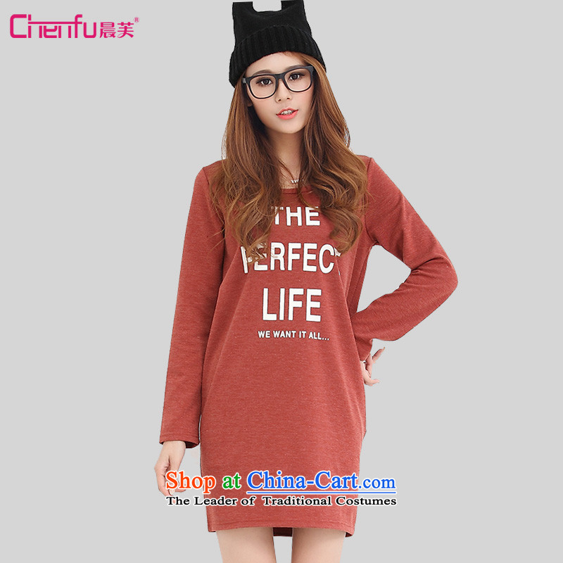 Morning to load the new 2015 autumn large female letters stamp long-sleeved dresses loose wild long forming the Netherlands red T-shirt燣 recommendations 110-120 catties_