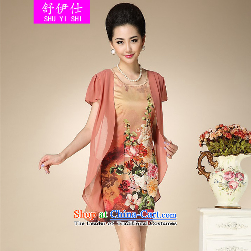 Schui Sze Summer High-end in temperament older xl mother replacing unique two false stamp silk dresses oversized Shu stylish and classy, elegant clothes聽XXXXL Sunset Red