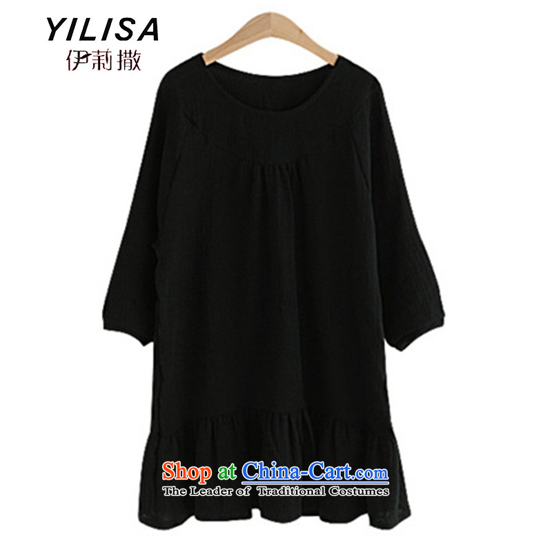 Large YILISA Female European 2015 spring/summer load station 7 cuff cotton linen dresses and breathable MM video thin black 5XL N B625