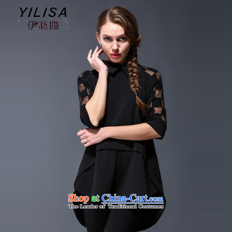 Large European and American women YILISA load new spring and autumn replacing new gauze stitching shirt thick mm loose video thin front stub in the back of the shirt Y9039 black XXXL swing
