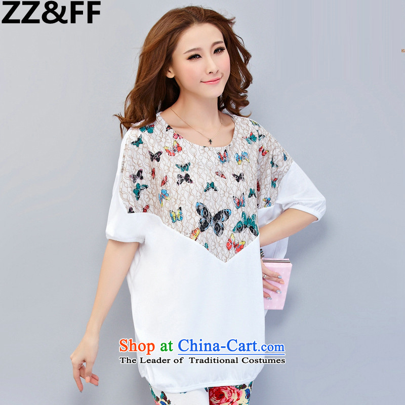 2015 mm Zz&ff thick summer new larger female loose short-sleeved T-shirt to intensify the leisure sports wear white?XXXL two kits