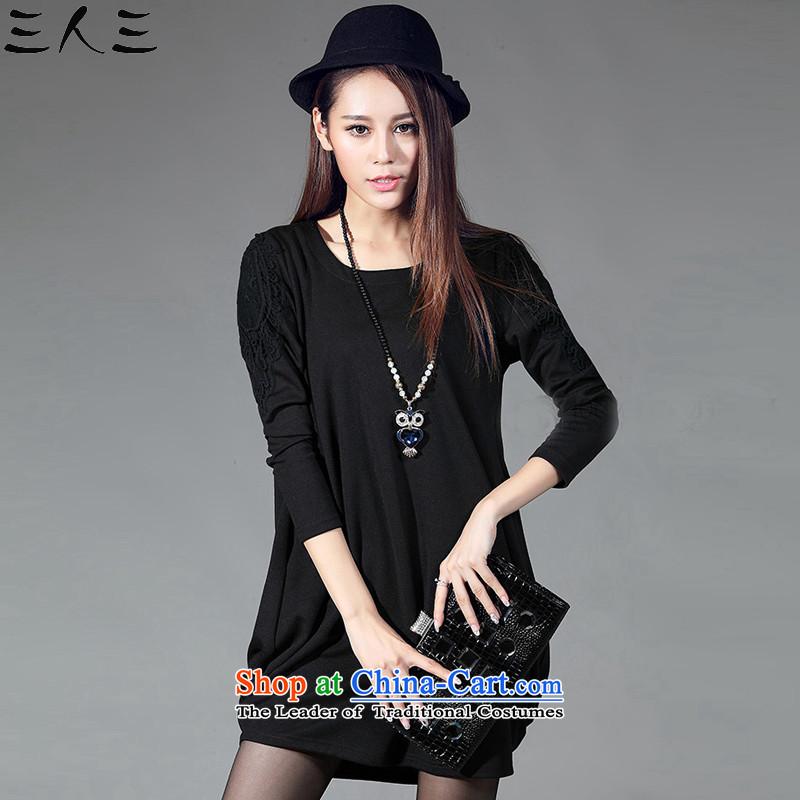 The three new autumn 2015, three large female thick MM Sau San Video Pure Cotton Thin lanterns skirt dresses 052 Black XXXL