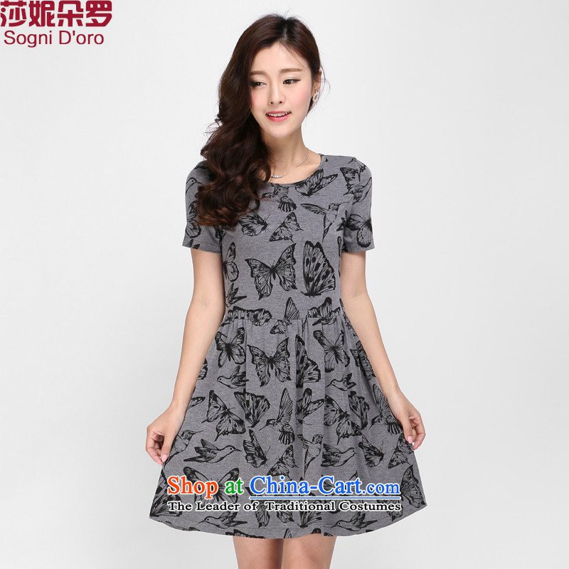 Shani Flower Lo 2015 Korean women xl thick mm decorated in video thin summer round-neck collar short-sleeved dresses 1130 Gray聽4XL