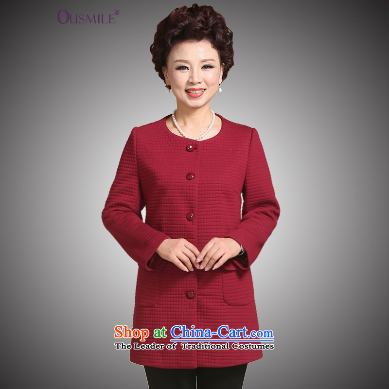 The autumn jackets mother ousmile replace aged 40-50 in the autumn of the middle-aged long shirts in cardigan large Older Women 1927 1927 Red XL