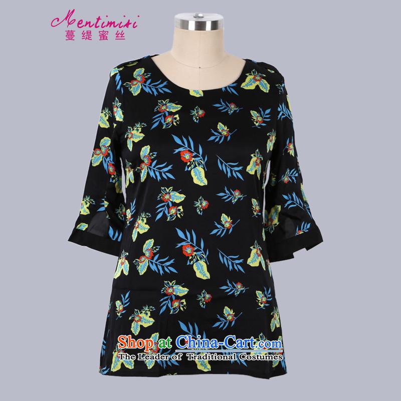Overgrown Tomb economy honey silk European?Summer 2015 site new western stamp Sau San video thin thick MM short skirts larger dresses?S2663?black?XXL