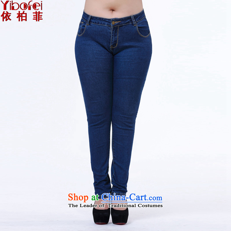 In accordance with the perfect聽fat sister to 2015 XL female Korean Sau San video thin jeans pants castor pencil trousers female聽Y2131聽blue聽4XL