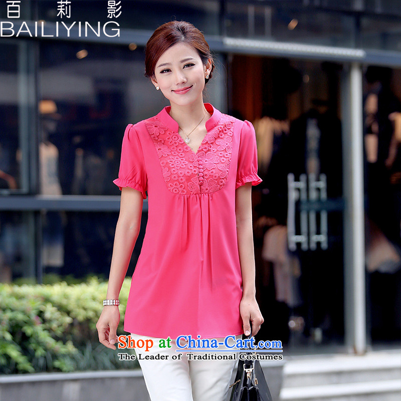 Hundred Li Ying?2015 Korean T-shirts new stylish short-sleeved small V Ms. collar in long large solid color chiffon red T-shirt?XL