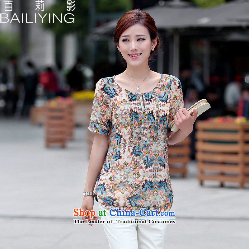 Hundred Li Ying?2015 Summer new Korean large relaxd wild blouses saika short-sleeved in long female chiffon shirt blue?XL