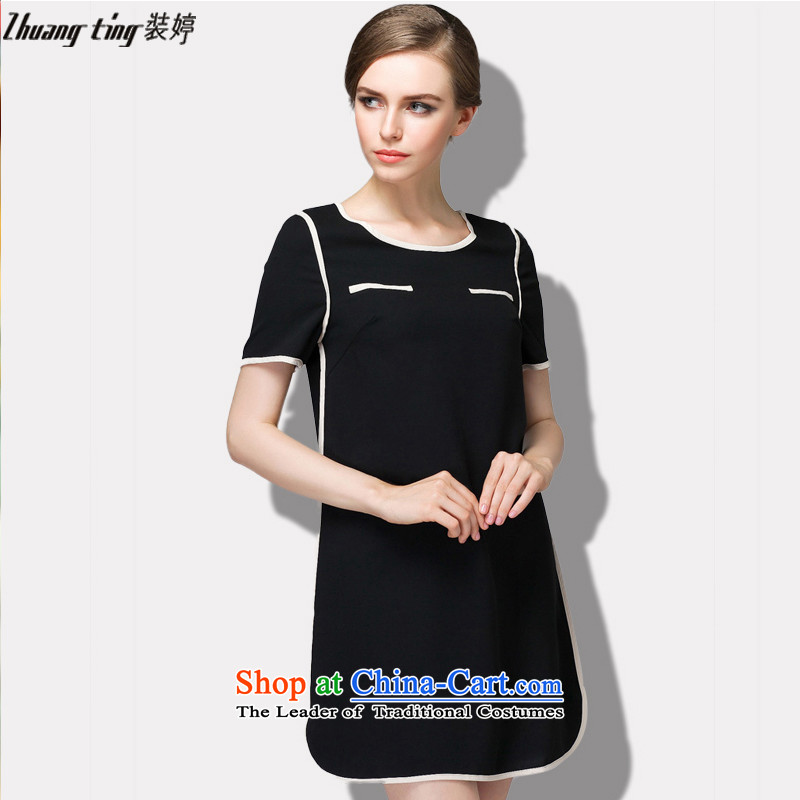 Replace zhuangting2015 ting summer new high-end western thick mm larger female minimalist Sau San video thin short-sleeved dresses 1521 Black?3XL