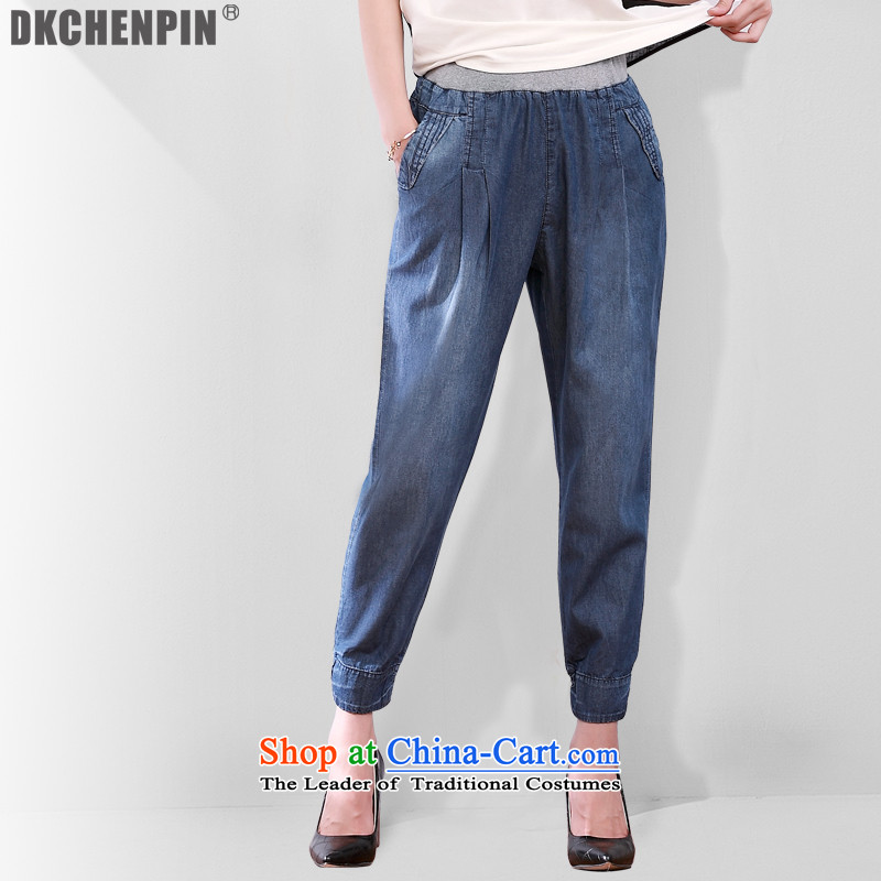 Large dkchenpin2015 female jeans female castor casual pants loose Harun trousers Female 7 Pack Denim blue trousers mother 3XL