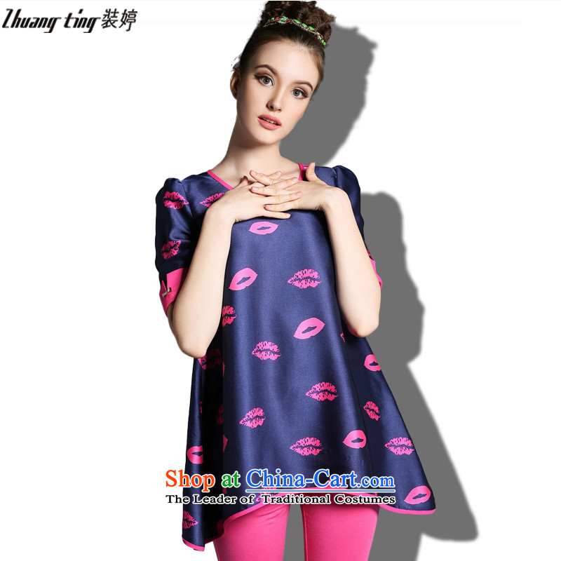 (replace as soon as possible who did zhuangting thick video thin large European Summer 2015 women to increase video thin loose T-shirt 1822 Red?XL