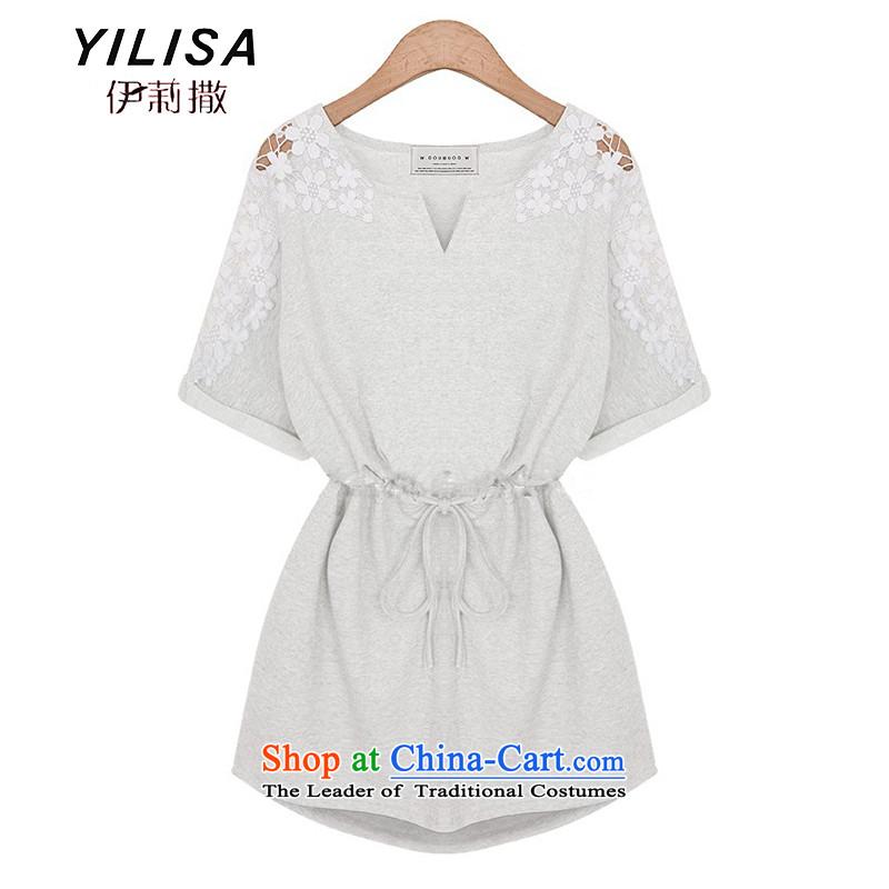 Large YILISA women's dresses 2015 Summer new stylish pure cotton thick MM to lace dresses M9100 White?XL
