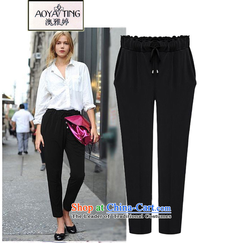 O Ya-ting spring and autumn 2015 new to increase women's code thick mm leisure ladies pants elastic Harun trousers 553 Black 4XL recommends that you 160-180 catty