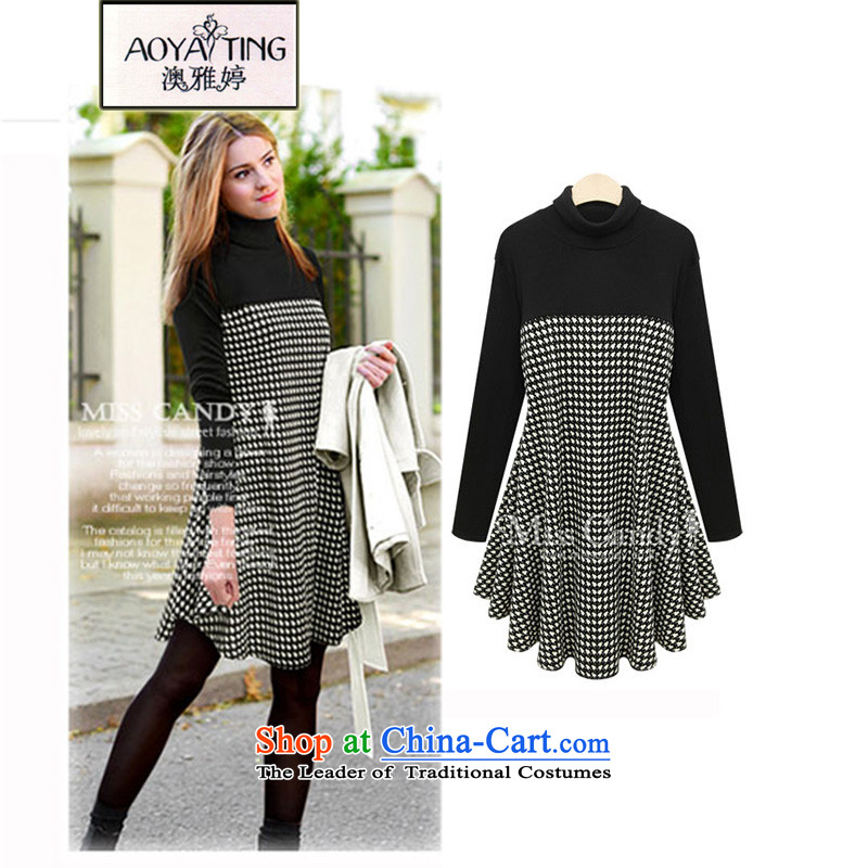 O Ya-ting spring and autumn 2015 new to increase women's code thick MM knitted dresses 835 female chidori grid black 2XL 125-145 recommends that you Jin